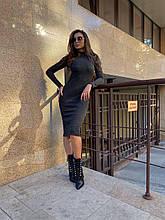 Женское шерстяное черное платье