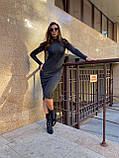 Женское шерстяное черное платье, фото 2