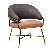 Крісло Адель сірий рожевий-золото тканина + вельвет / adele-grey-pink-armchair ТМ VetroMebel