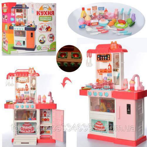 Детская игровая кухня WD-P34 для девочки, розовая, на 37 предметов