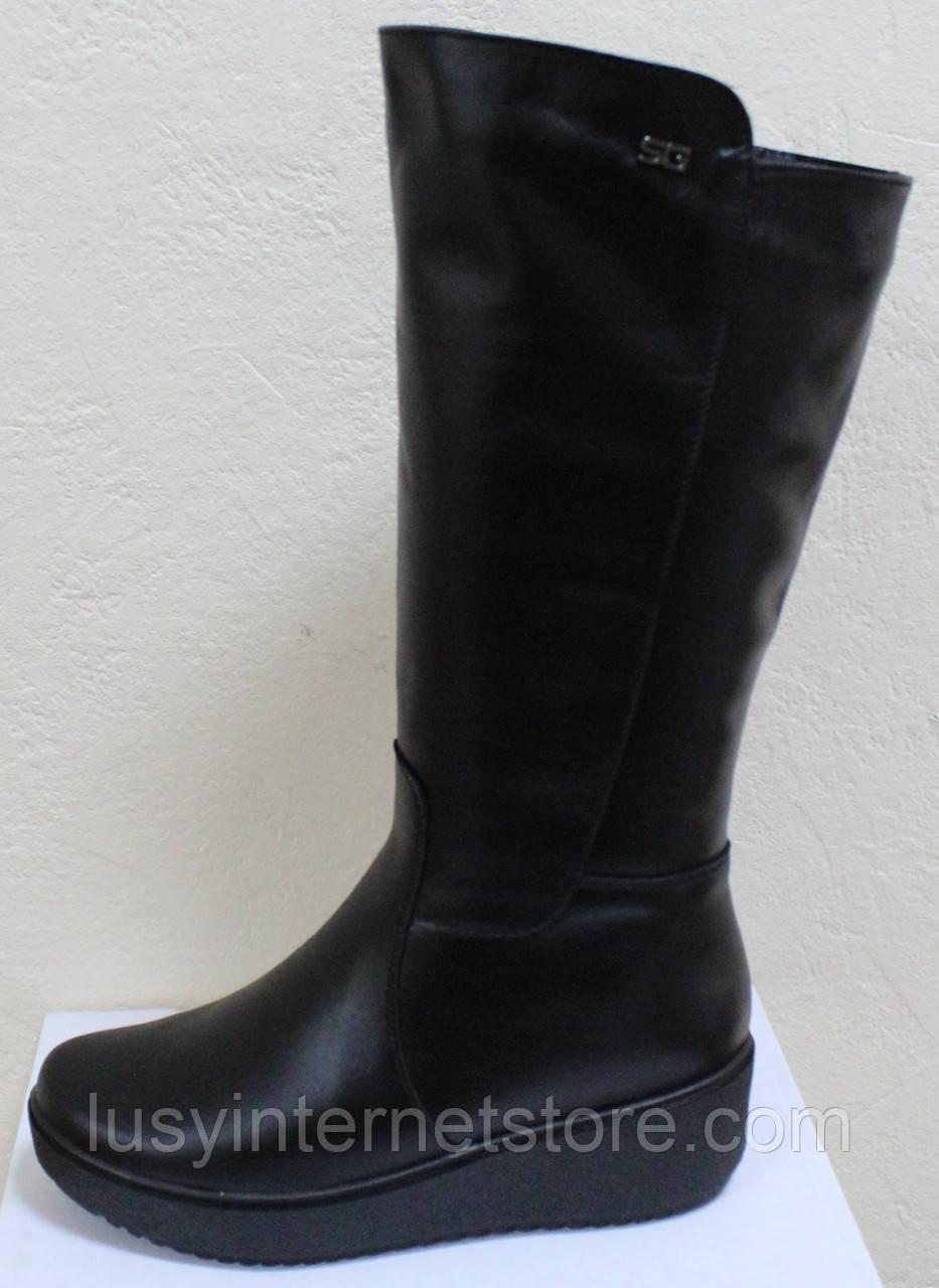Высокие женские сапоги кожаные на платформе, сапоги от производителя модель БМ751
