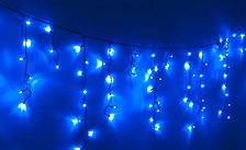 Бахрома штора улица 120LED (Ø 3,3) 4м, 30/50/70см (флеш) Провод-черный. Синий (RD-7113) Дропшиппинг