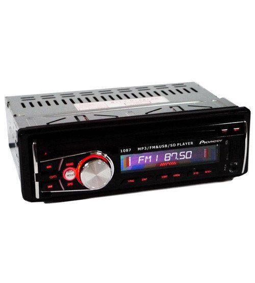 Автомагнитола Pioneer 1087 ISO, съемная панель, USB флешки + SD карты памяти + AUX + FM