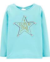 Красивый детский топ бирюзового цвета SUPER STAR для девочки Картерс