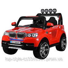 Детский электромобиль Джип BMW 4WD, 2-х местный, кожа, EVA-резина, амортизаторы, красный