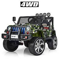 Детский электромобиль Джип M 3237 EBLR-18, Jeep Wrangler, 4 мотора, Кожа, EVA резина, Амортизаторы, камуфляж