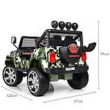 Детский электромобиль Джип M 3237 EBLR-18, Jeep Wrangler, 4 мотора, Кожа, EVA резина, Амортизаторы, камуфляж, фото 3