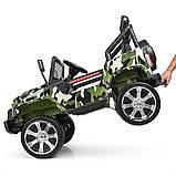 Детский электромобиль Джип M 3237 EBLR-18, Jeep Wrangler, 4 мотора, Кожа, EVA резина, Амортизаторы, камуфляж, фото 4