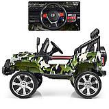 Детский электромобиль Джип M 3237 EBLR-18, Jeep Wrangler, 4 мотора, Кожа, EVA резина, Амортизаторы, камуфляж, фото 5