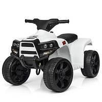 Детский электромобиль Квадроцикл M 3893 EL-1, кожаное сиденье, колеса EVA, музыка, свет, белый