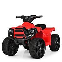 Детский электромобиль Квадроцикл M 3893 EL-3, кожаное сиденье, колеса EVA, музыка, свет, красный