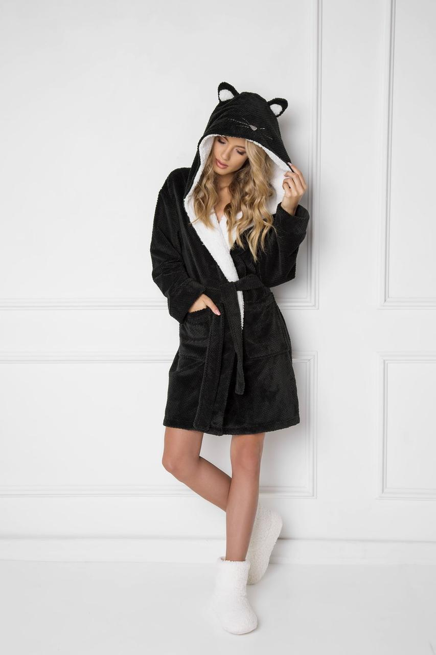 Короткий халат з вушками ARUELLE CATTIE black
