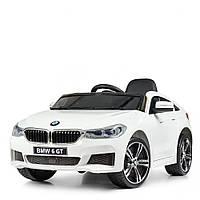 Детский электромобиль Джип JJ 2164 EBLR-1, BMW 6 GT, кожаное сиденье, колеса EVA, белый