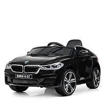Детский электромобиль Джип JJ 2164 EBLR-2, BMW 6 GT, кожаное сиденье, колеса EVA, черный