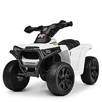 Детский электромобиль Квадроцикл M 4207 EL-1, колеса EVA, кожаное сиденье, музыка, белый