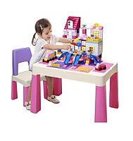 Детский функциональный столик и стульчик Poppet 5 в 1 розовый, фото 1