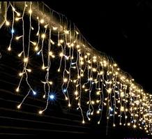 Бахрома штора улица 120LED (Ø 3,3) 4м, 30/50/70см (флеш) Провод-белый. Цвет теплый (RD-7118) Дропшиппинг