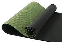 Коврик для йоги из каучука двухслойный черно/зеленый 183 х 60 х 0,6 см, фото 1