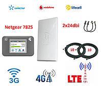 Комплект для интернета (3G/4G/LTE) Роутер Netgear 782S + Антенна планшетная MIMO 2×24 dbi+стартовый пакет