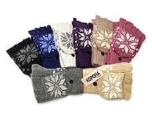 Перчатки -варежки женские шерстяные  Корона