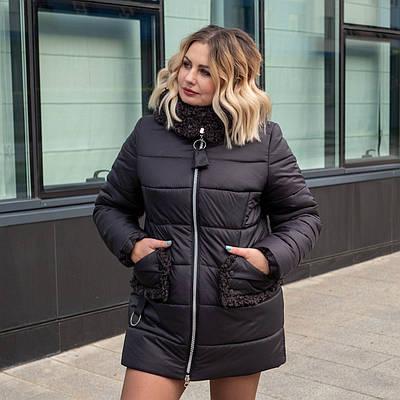 Женские зимние куртки больших размеров  50-60 баклажан