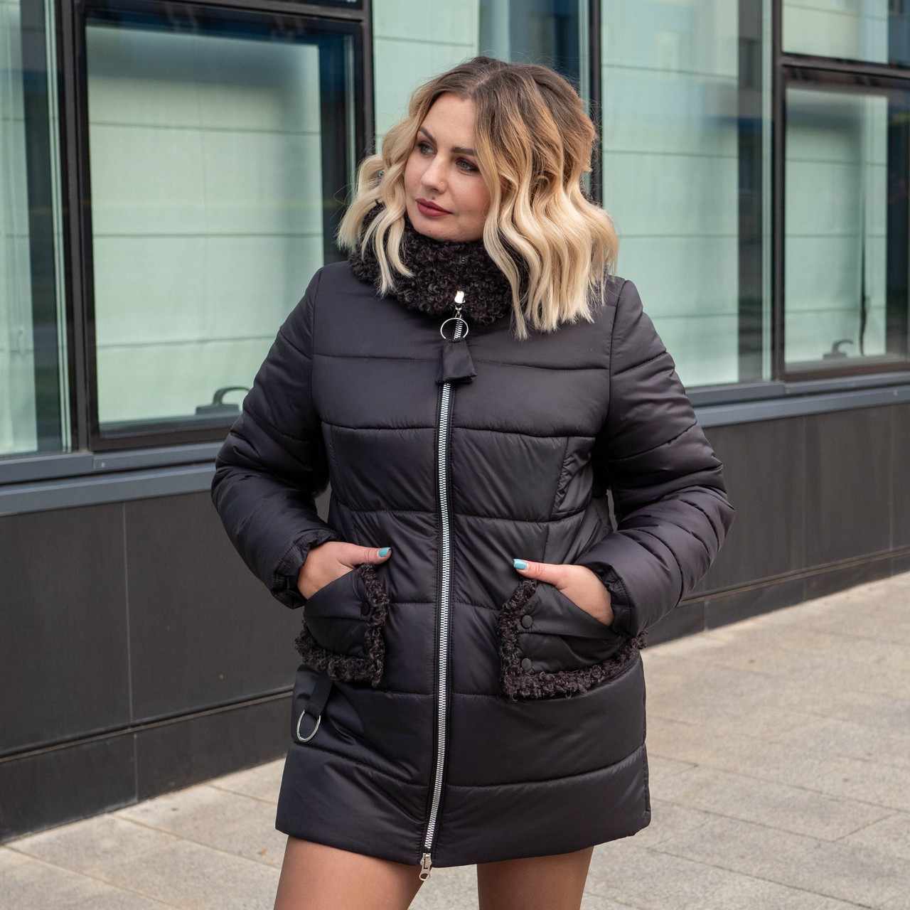 Жіночі зимові куртки великих розмірів 50-60 баклажан