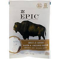 ОРИГІНАЛ!М'ясні снеки Epic Bar,Бізон і незасоленный бекон,солодкий і пікантний,71 грам виробництва США