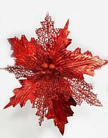 """Блестящий красный новогодний цветок пуансетия""""Диамант"""" 25см, цвет красный, фото 1"""