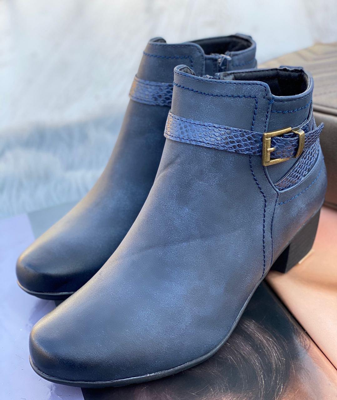 Ботинки женские Евро-Зима 6 пар в ящике синего цвета 36-41