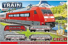 Железная дорога JHX 8813, 33 элемента, свет, звук, на батарейках, в коробке