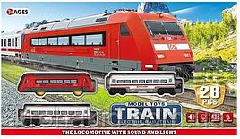 Железная дорога JHX 8812, 28 элементов, свет, звук, на батарейках, в коробке