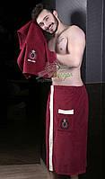 Набор для посещения сауны (мужской, два предмета) Karna бордо, фото 1