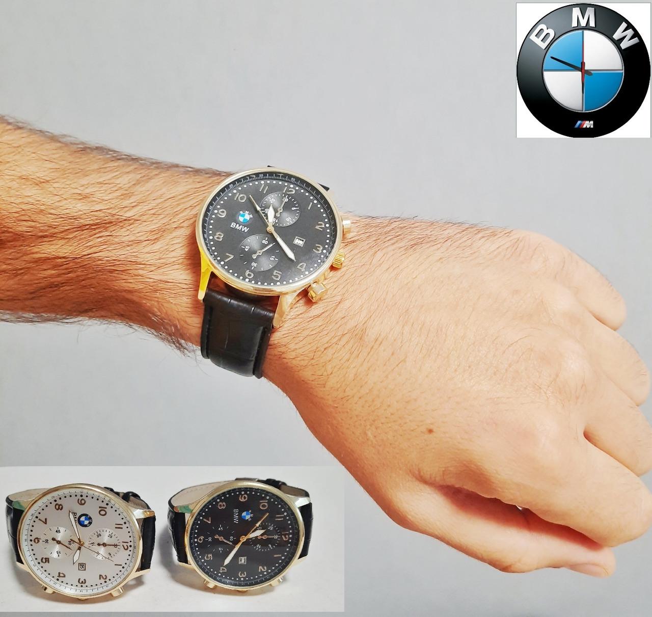 Мужские наручные часы BMW с кожаным ремешком.