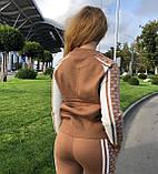 Жіночий теплий в'язаний костюм з візерунком,в кольорі Камел,р. М, фото 4