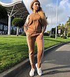 Жіночий теплий в'язаний костюм з візерунком,в кольорі Камел,р. М, фото 6