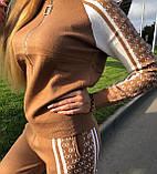 Жіночий теплий в'язаний костюм з візерунком,в кольорі Камел,р. М, фото 7