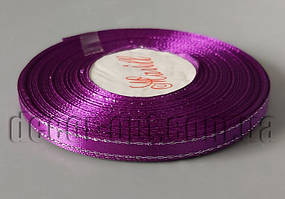 Лента атласная фиолетовая с серебряным люрексом 0,6 см 36ярд 182