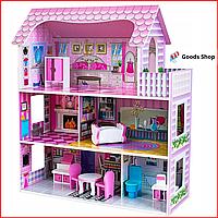 Большой кукольный домик для детей VimToys Lalo Деревянный детский домик для кукол Ляльковий будинок для дітей