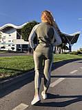 Женский теплый вязаный костюм с узором,в цвете Хаки,р.М, фото 4