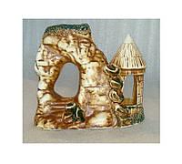 Декорация для аквариума керамическая Башня-грот на скале, 18х10х16 см