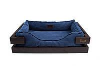 Лежак c каркасом для собак Harley and Cho Dreamer Brown + Denim Velvet 3100315, 50*40 см