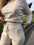 Женский теплый вязаный костюм с узором,в бежевом цвете,р.42/46, фото 3