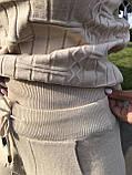 Женский теплый вязаный костюм с узором,в бежевом цвете,р.42/46, фото 5