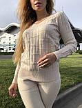 Женский теплый вязаный костюм с узором,в бежевом цвете,р.42/46, фото 6