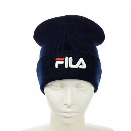 """Шапка """"Fila"""" Темно-синя - молодіжна шапка-лопата з відворотом, фото 2"""