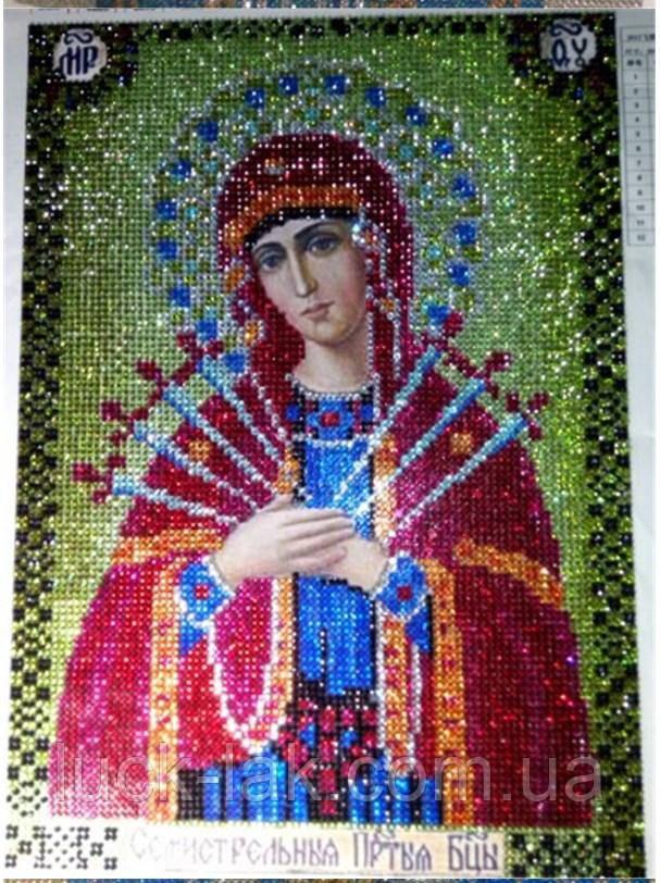 Алмазная вышивка Икона 30х40 см Семистрельная икона Божией Матери зеленая, зеркальные стразы