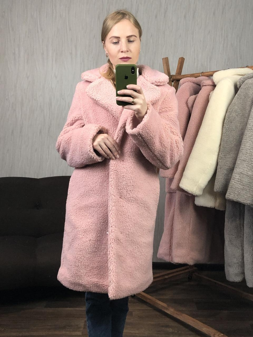 Женская шуба из эко меха Миса розовая