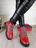 Зимние красные женские ботинки, фото 1