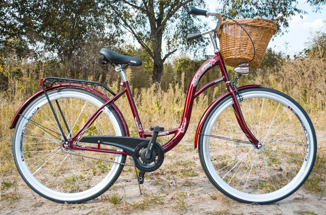 Велосипед жіночий міський VANESSA 28 Red з кошиком Польща