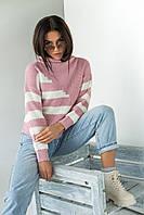 Свитер крупной вязки с широкими полосками LUREX - пудра цвет, L (есть размеры), фото 1